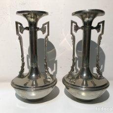 Pareja de jarrones principios siglo xx en crist vendido en venta directa 50443019 - Jarrones plateados ...