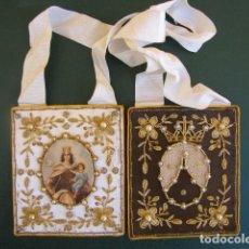 Antigüedades: ESCAPULARIO VIRGEN DEL CARMEN. SEDA, HILO DE ORO Y PERLAS. GRAN TAMAÑO. Lote 139894986