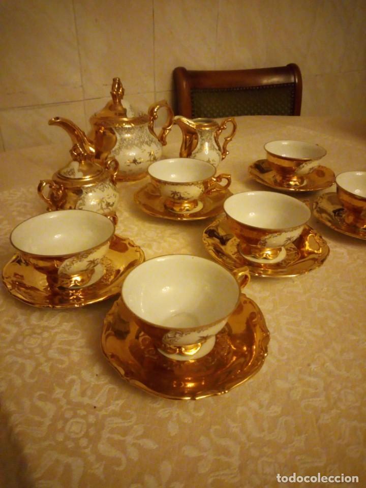 Antigüedades: Precioso juego de té de porcelana porcelana b.c.g.warenhaus ardei bavaria.decorado con oro. - Foto 2 - 139904502