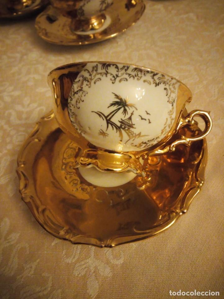 Antigüedades: Precioso juego de té de porcelana porcelana b.c.g.warenhaus ardei bavaria.decorado con oro. - Foto 3 - 139904502