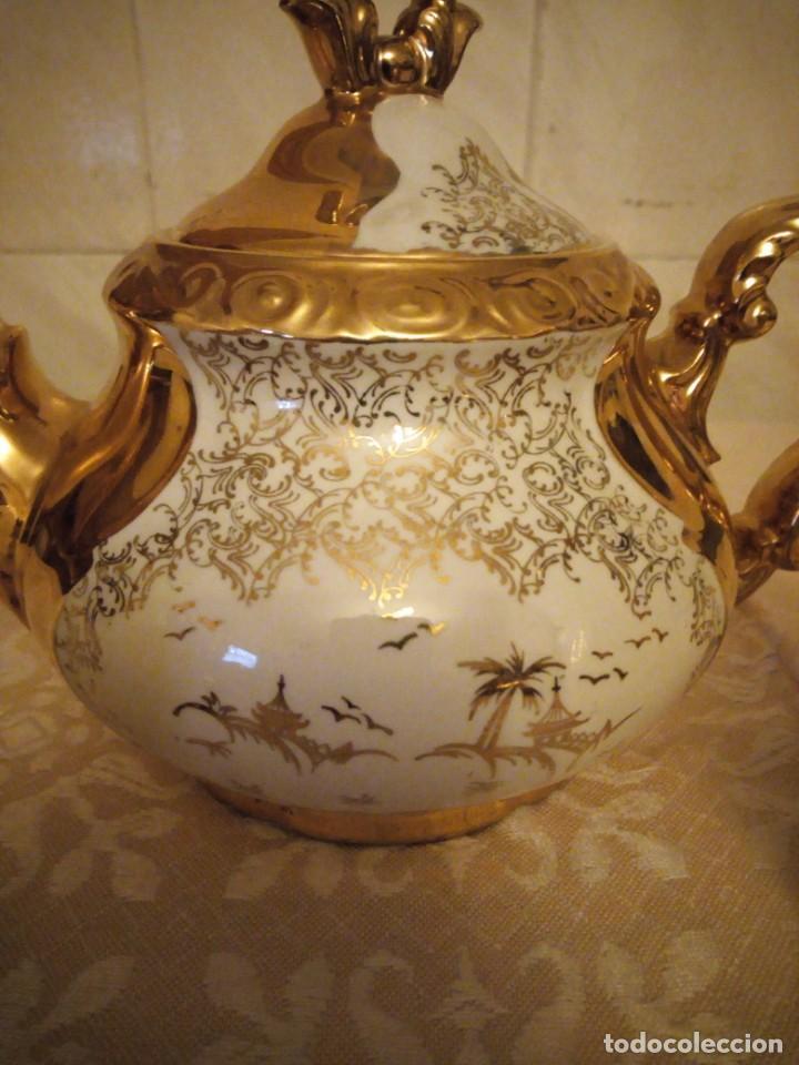 Antigüedades: Precioso juego de té de porcelana porcelana b.c.g.warenhaus ardei bavaria.decorado con oro. - Foto 7 - 139904502