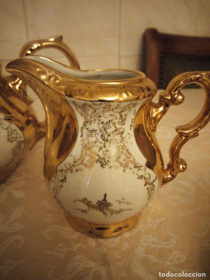 Antigüedades: Precioso juego de té de porcelana porcelana b.c.g.warenhaus ardei bavaria.decorado con oro. - Foto 8 - 139904502