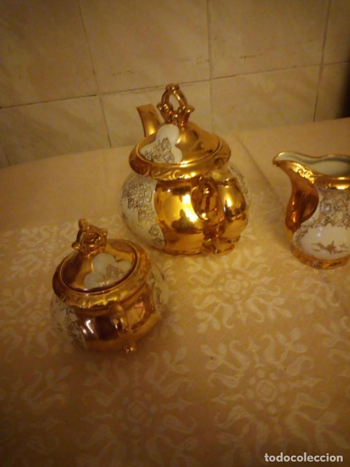 Antigüedades: Precioso juego de té de porcelana porcelana b.c.g.warenhaus ardei bavaria.decorado con oro. - Foto 9 - 139904502
