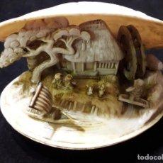 Antigüedades: PRECIOSA ALMEJA CHINA TALLADA EN SU INTERIOR. Lote 139904530
