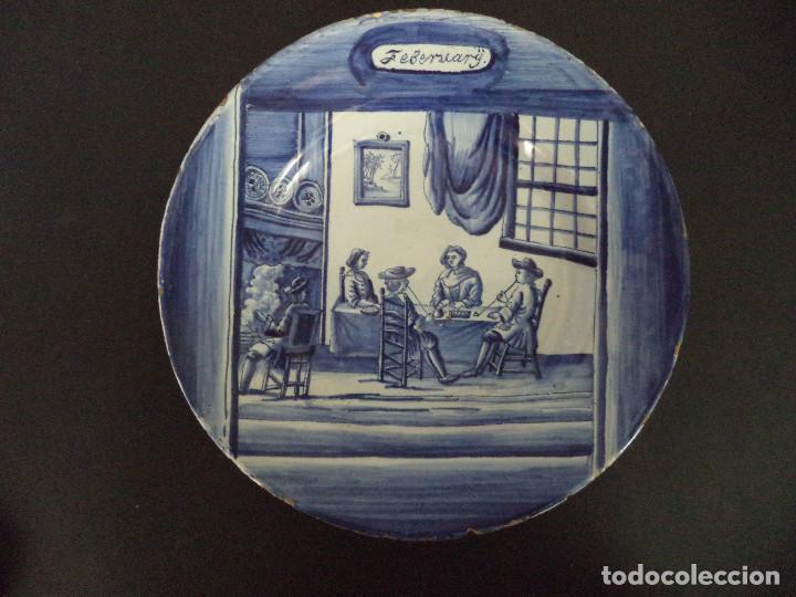 RARO PRATO EM FAIANÇA DE DELFT - SERIE MESES ANO - SÉC XVIII (Antigüedades - Porcelana y Cerámica - Holandesa - Delft)
