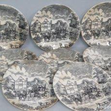 Antigüedades: JUEGO DE 8 PLATOS DE LOZA SAN CLAUDIO. Lote 139931142