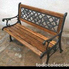 Antigüedades: BANCO DE MADERA Y FORJA. Lote 139933562