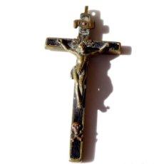 Antigüedades: CRUCIFIJO. CRISTO EN BRONCE Y MADERA. 11,5 X 5,5 CM. Lote 139939566