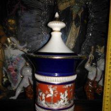 Antigüedades: ANTIGUO PRECIOSO JARRON DECORADO , FILO ORO FIRENZE ITALY . AZUL COBALTO ROJO ANTELOTES RELIGIOSO. Lote 139949502