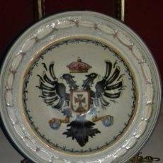 Antigüedades: PLATO DE TALAVERA - ÁGUILA BICÉFALA - ÓRDENES MONÁSTICAS ESCUDO CARMELITAS - SELLO-DEDICADO-FIRMADO. Lote 139964598