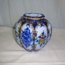 Antigüedades: MUY HERMOSO POTE AZUL DE PORCELANA PORTUGAL. Lote 139971398