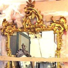 Antigüedades: GRAN ESPEJO TRUMEAU. MADERA TALLADA Y DORADA A LA HOJA DE ORO. ESTILO ROCOCO. ESPAÑA. XIX-XX. Lote 140001626