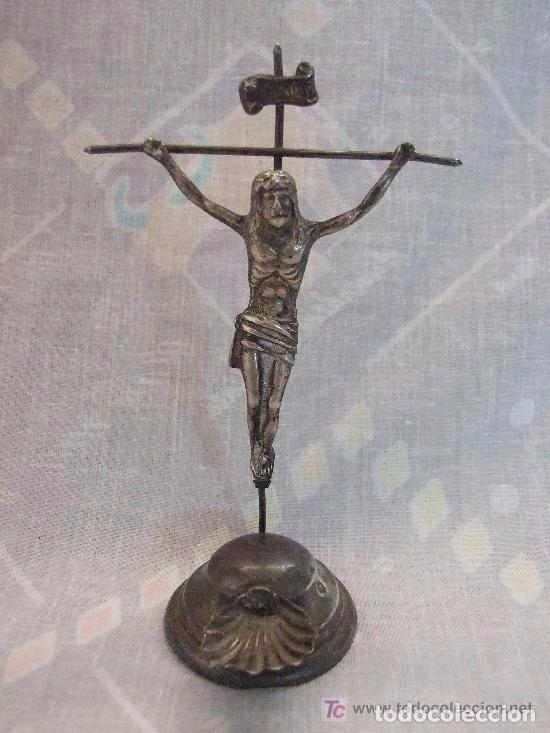 BENDITERA DE CRUCIFIJO DE PLATA (Antigüedades - Religiosas - Benditeras)