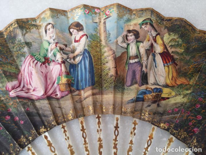 Antigüedades: Antiguo abanico Siglo XIX varillaje de Nácar pintado a mano - Foto 10 - 140029794