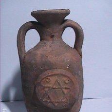 Antigüedades: ANTIGUO DEPÓSITO UNGÜENTARIO EN TERRACOTA CON EL SÍMBOLO HEBREO MAGEN DAVID. JUDEA. ISRAEL.. Lote 140046038