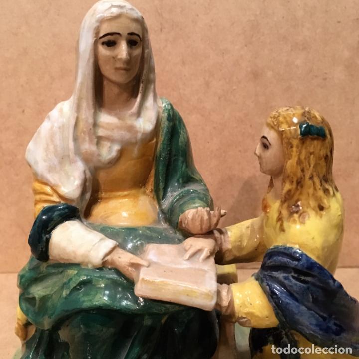 Antigüedades: Santa Ana y la Vírgen Niña de cerámica de Triana - Foto 2 - 140053774