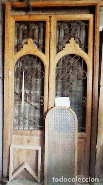 Antigüedades: PUERTA ANTIGUA DOBLE HOJA MODERNISTA - Foto 4 - 140054238