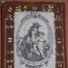 Antigüedades: ESCAPULARIO CARMELITA NUESTRA SEÑORA DEL CARMEN SIGLO XIX. Lote 140086982