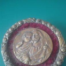 Antigüedades: SAN JOSÉ Y EL NIÑO. MEDALLA-CUADRO. BRONCE. Lote 140087634