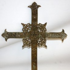 Antigüedades: CRUZ PROCESIONAL EN BRONCE DE PRINCIPIOS DEL SIGLO XIX. Lote 140121602