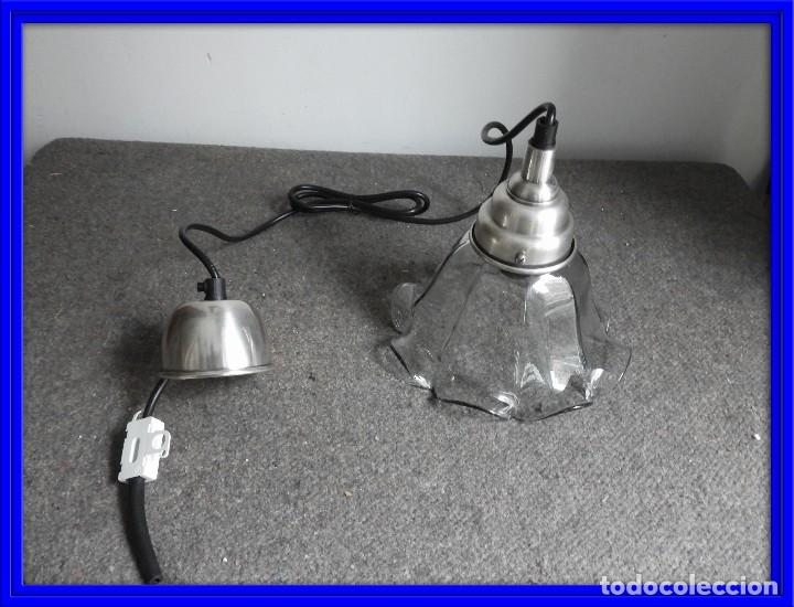 LAMPARA DE CRISTAL EN FORMA DE FLOR (Antigüedades - Iluminación - Faroles Antiguos)