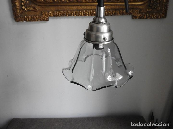 Antigüedades: LAMPARA DE CRISTAL EN FORMA DE FLOR - Foto 2 - 140139182