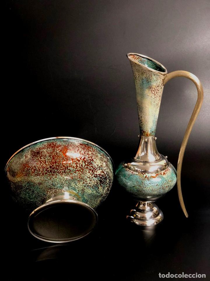 Antigüedades: BELLO AGUAMANIL O LAVAMANOS ESCLESIÁSTICO EN PLATA DE LEY Y ESMALTE SOBRE COBRE - AÑOS 70 - Foto 3 - 140143746