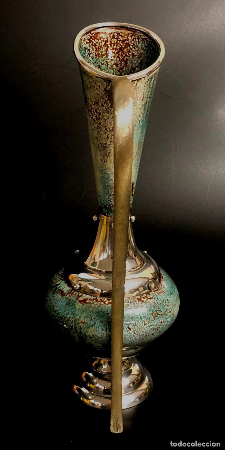 Antigüedades: BELLO AGUAMANIL O LAVAMANOS ESCLESIÁSTICO EN PLATA DE LEY Y ESMALTE SOBRE COBRE - AÑOS 70 - Foto 4 - 140143746