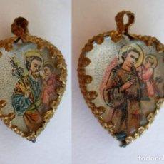 Antigüedades: PRECIOSA MEDALLA RELIGIOSA TIPO RELICARIO DE SAN JOSE Y SAN ANTONIO DE PADUA. Lote 140151870