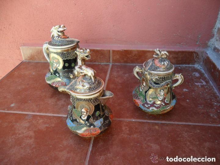 Antigüedades: JUEGO DE CAFÉ DE PORCELANA SATSUMA INCOMPLETO ANTIGUO - Foto 4 - 140159702