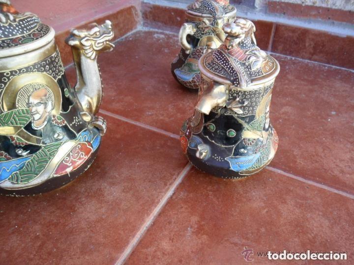Antigüedades: JUEGO DE CAFÉ DE PORCELANA SATSUMA INCOMPLETO ANTIGUO - Foto 5 - 140159702