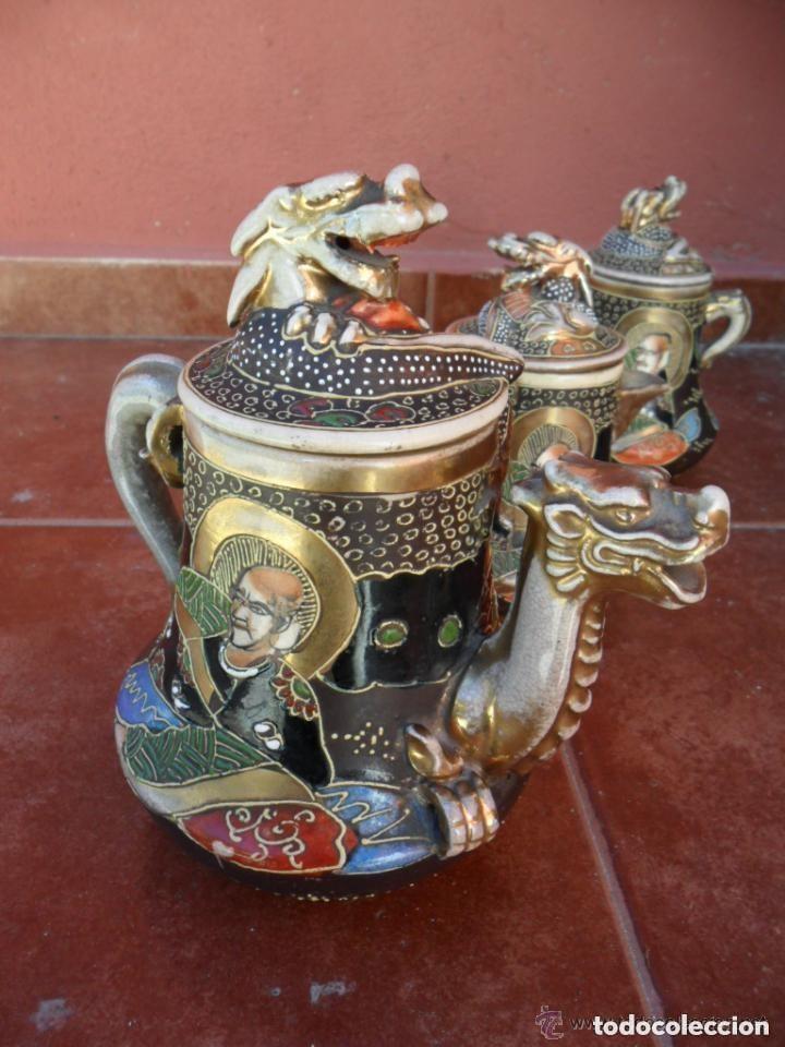 Antigüedades: JUEGO DE CAFÉ DE PORCELANA SATSUMA INCOMPLETO ANTIGUO - Foto 9 - 140159702