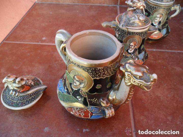 Antigüedades: JUEGO DE CAFÉ DE PORCELANA SATSUMA INCOMPLETO ANTIGUO - Foto 10 - 140159702