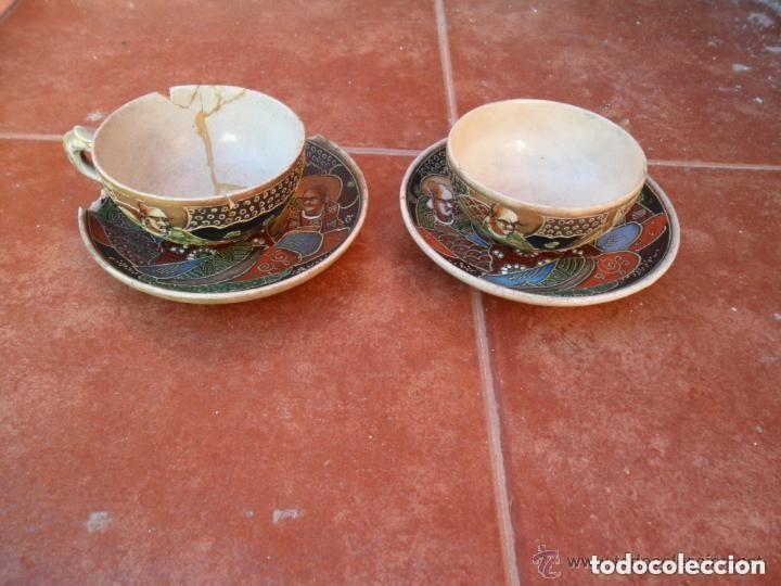 Antigüedades: JUEGO DE CAFÉ DE PORCELANA SATSUMA INCOMPLETO ANTIGUO - Foto 14 - 140159702