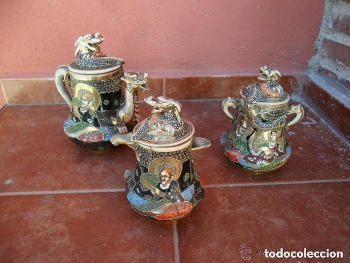 Antigüedades: JUEGO DE CAFÉ DE PORCELANA SATSUMA INCOMPLETO ANTIGUO - Foto 16 - 140159702