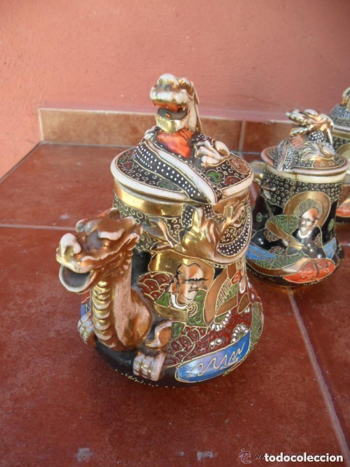 Antigüedades: JUEGO DE CAFÉ DE PORCELANA SATSUMA INCOMPLETO ANTIGUO - Foto 18 - 140159702