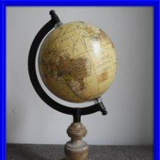 Antigüedades: BOLA DEL MUNDO GLOBO TERRAQUEO CON PIE DE MADERA Y MERIDIANO DIAMETRO 12. Lote 140164578
