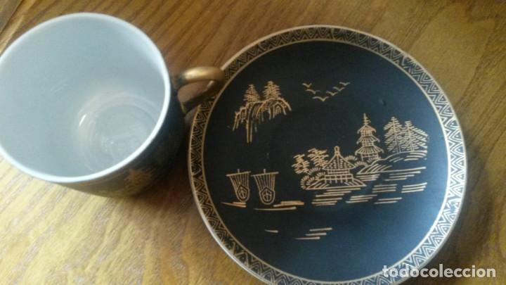 Antigüedades: JUEGO TE - CAFÉ JAPONES COMPLETO Y SIN ESTRENAR. NEGRO Y DORADO. SELLADO EIHO. - Foto 5 - 140174010