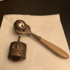 Antigüedades: LOTE DE 2 SONAJEROS ANTIGUOS DE PLATA. Lote 140177994