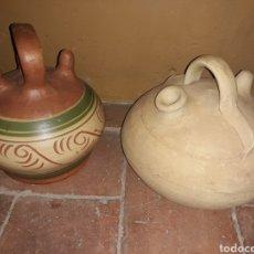 Antigüedades: 2 BOTIJOS ANTIGUOS DE BARRO EN ESTADO EXCELENTE. Lote 140181194