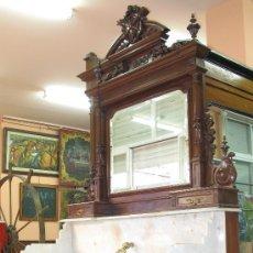 Antigüedades: OCASION EXCEPCIONAL ANTIGUO MUEBLE LAVABO MADERA NOGAL CON ELABORADO MARCO ESPEJO. Lote 24303314