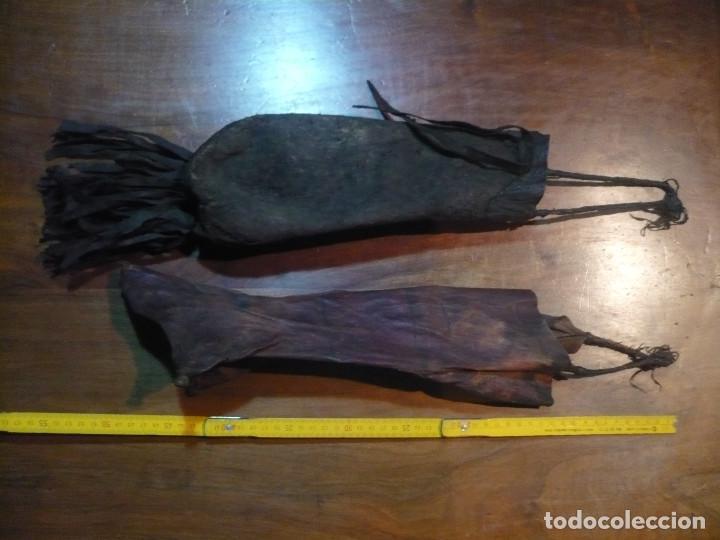 BOLSAS DE PASTOR ÉTNICAS, MARRUECOS Y CENTRO DE AFRICA, DE PIEL DE ROEDOR, 30 CM LARGO (Antigüedades - Técnicas - Rústicas - Ganadería)
