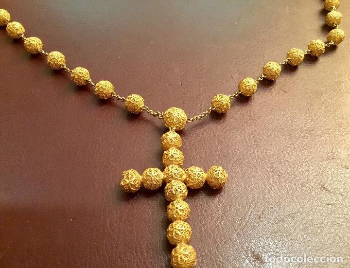 Antigüedades: Antiguo rosario de oro, filigrana, finales del XIX Filipinas - Foto 3 - 140223698