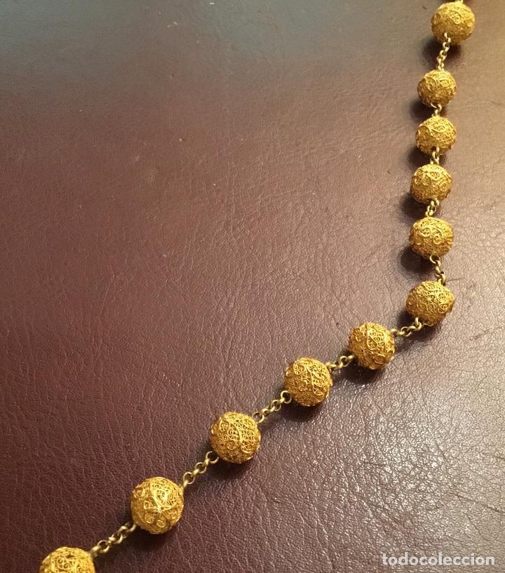 Antigüedades: Antiguo rosario de oro, filigrana, finales del XIX Filipinas - Foto 4 - 140223698