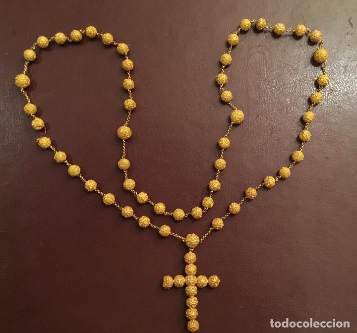 Antigüedades: Antiguo rosario de oro, filigrana, finales del XIX Filipinas - Foto 6 - 140223698