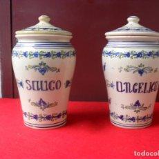 Antigüedades: 2 ANTIGUOS ALBARELOS,TALAVERA,SAUCO Y ANGELICO, 25 CM ALTURA CON TAPA. Lote 140236458