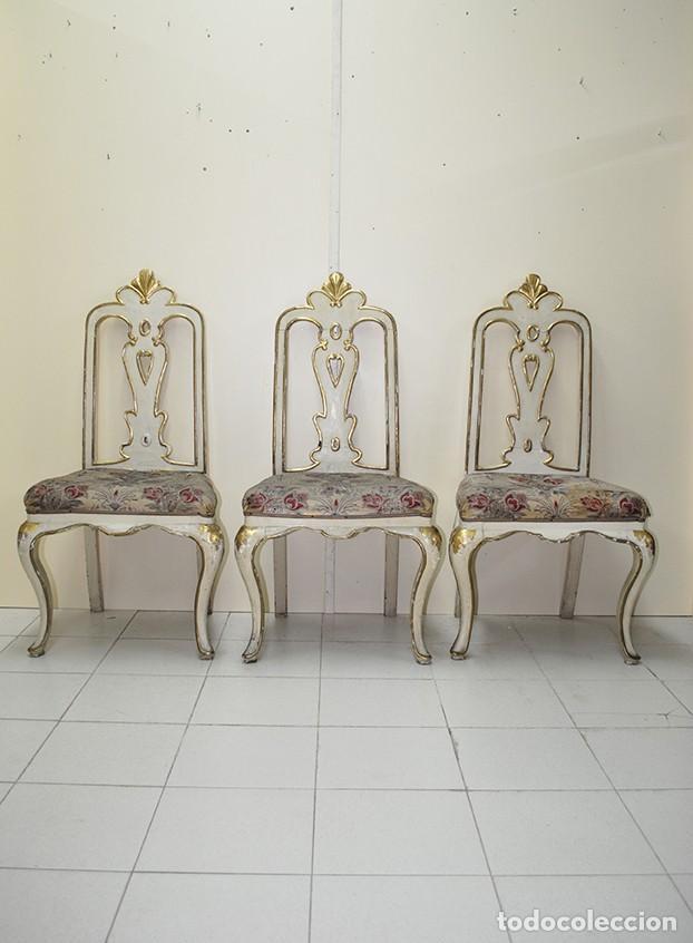 Antigüedades: LOTE DE SILLAS ANTIGUAS DE MADERA - Foto 2 - 140239542