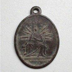 Antigüedades: ANTIGUA MEDALLA RELIGIOSA. DOLOROSA Y CORAZONES DE JESÚS Y MARÍA (SIGLO XIX). Lote 140246078