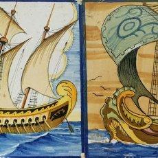 Antigüedades: PAREJA DE AZULEJOS. CERÁMICA CATALANA. PINTADOS A MANO. SIGLO XX. . Lote 140246838