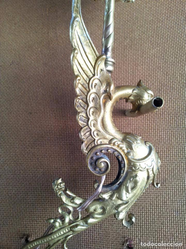 Antigüedades: APLIQUE DRAGON BRONCE,LAMPARA 1 LUZ MODERNISTA - Foto 5 - 140253146